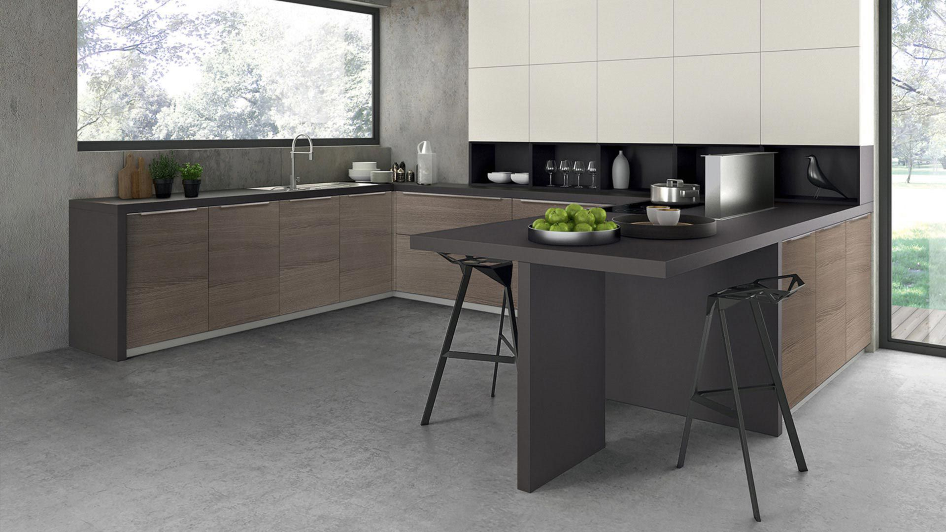 Cocina moderna / de chapa de madera / de melamina / de U-tubo - RHO ...