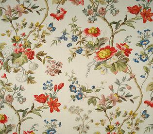Tela de tapicería / de flores / de algodón / estampada a mano