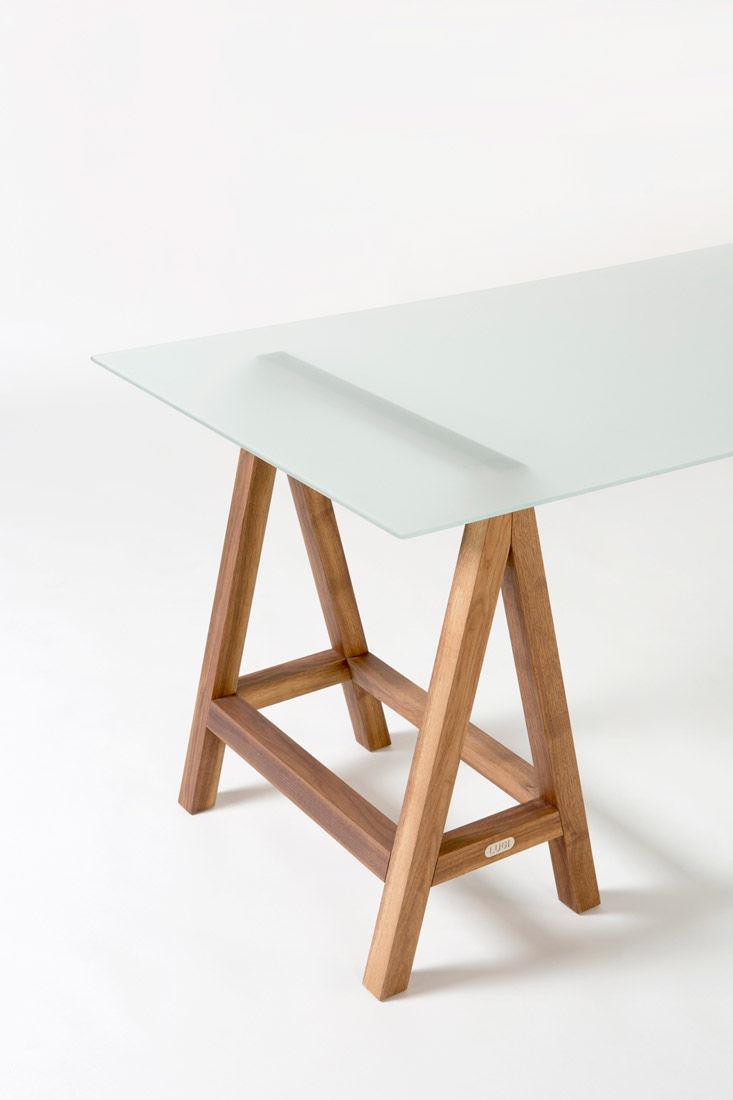 mesa moderna de madera de vidrio rectangular lugi