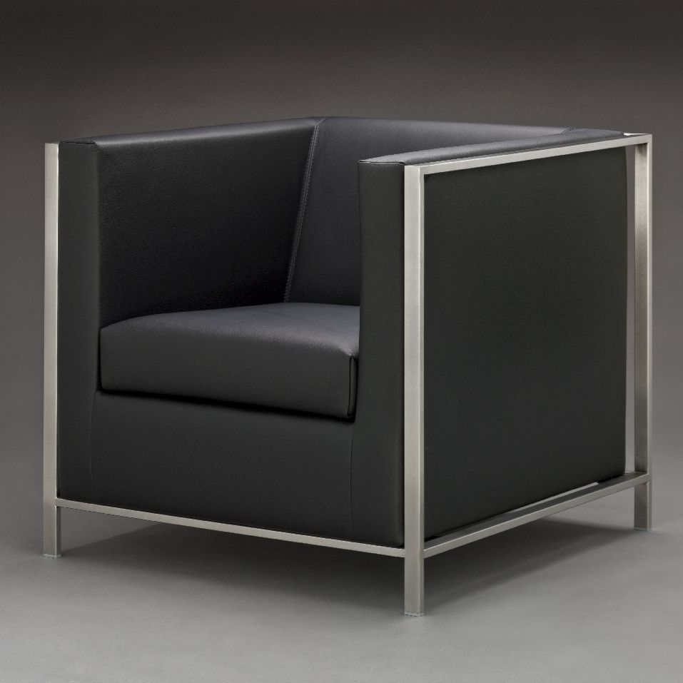 silln moderno de tejido de cuero de acero inoxidable kubus by martin frank - Sillon Moderno