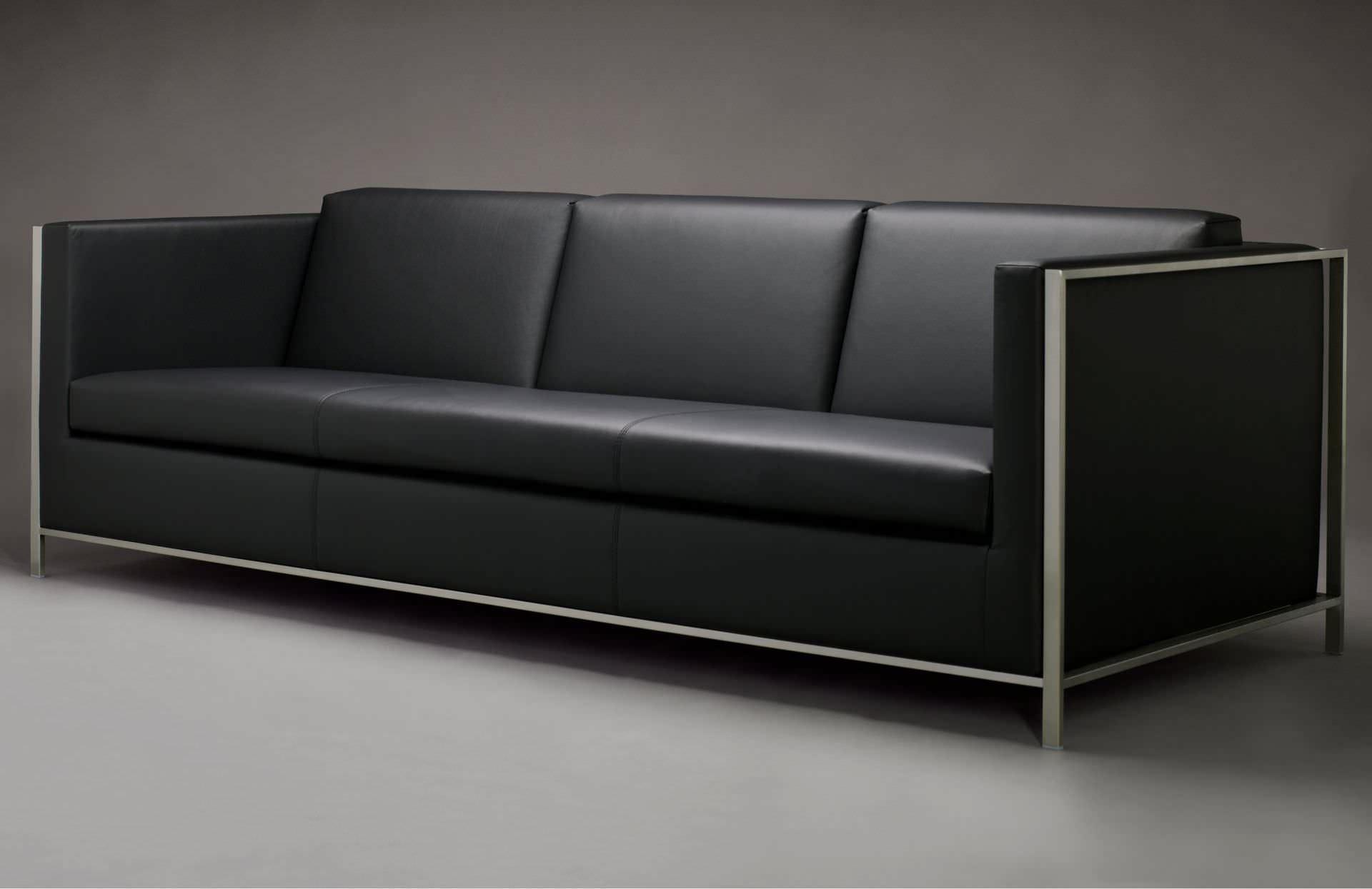 Sofá moderno / de cuero / de acero inoxidable / de tejido - KUBUS by ...