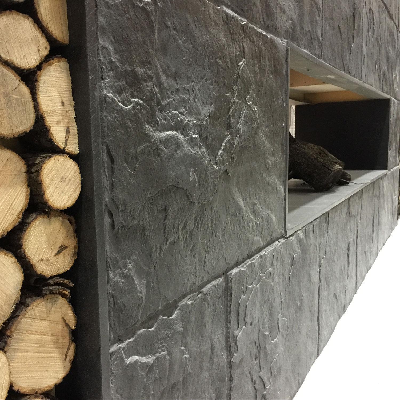 de pared de hormign para uso residencial con relieve aspecto piedra pizarra
