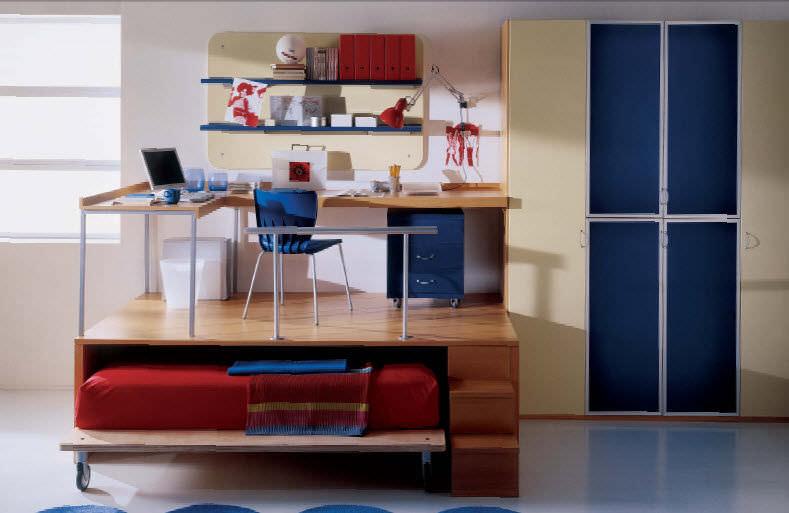 escritorio de chapa de madera moderno con cama nido para nios why system