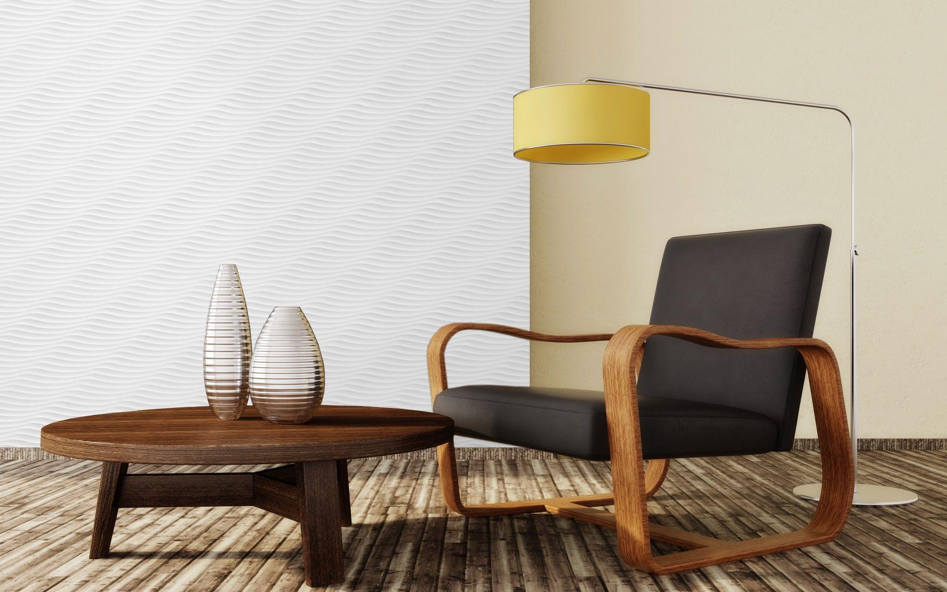 panel de madera de fibra de madera para mueble de pared onda