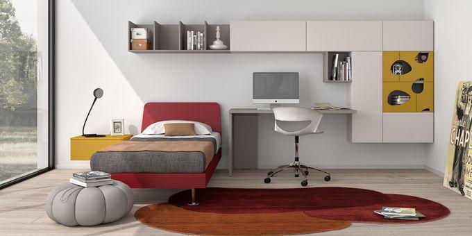 escritorio moderno con armarios integrados para nios abaco