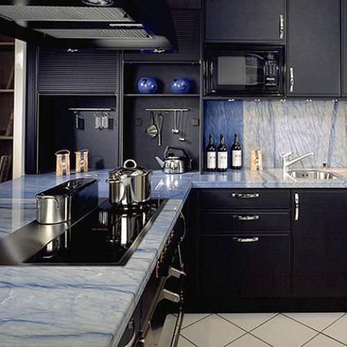 encimera de mrmol para cocina azul macaubas marbrerie des yvelines