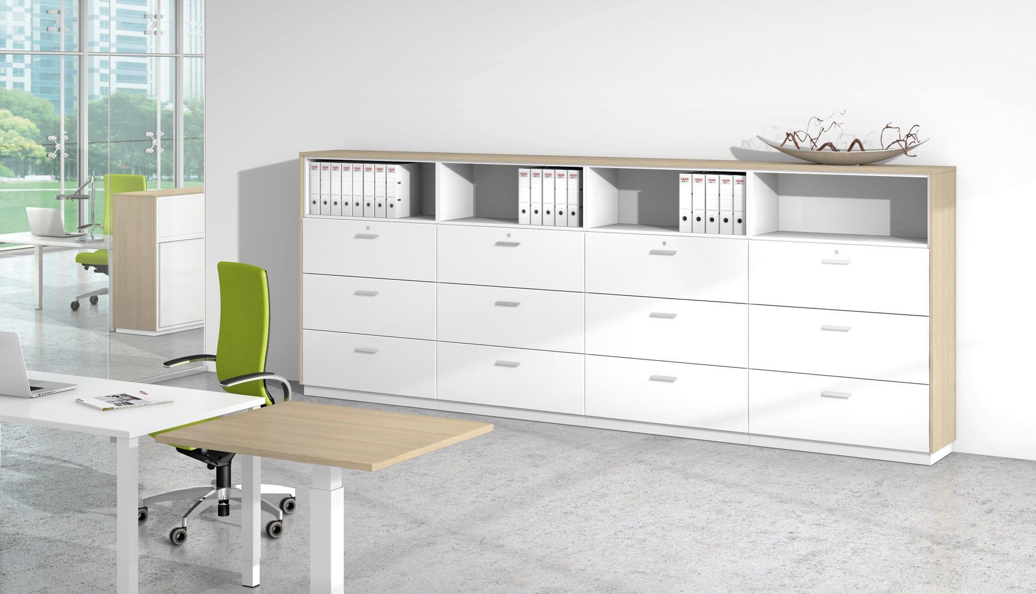 Armario de oficina bajo / de madera / de chapa de madera / modular ...