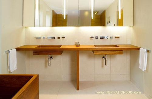 encimera de lavabo doble de madera inspiration bois