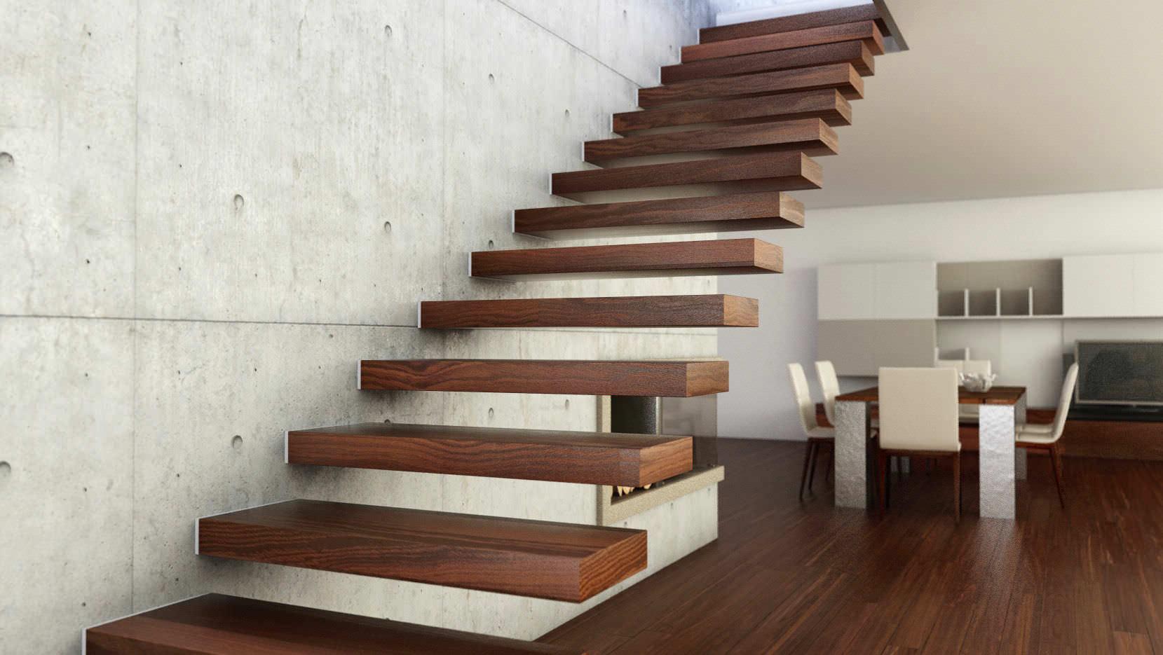 escalera recta con peldaos de madera sin moderna interbau