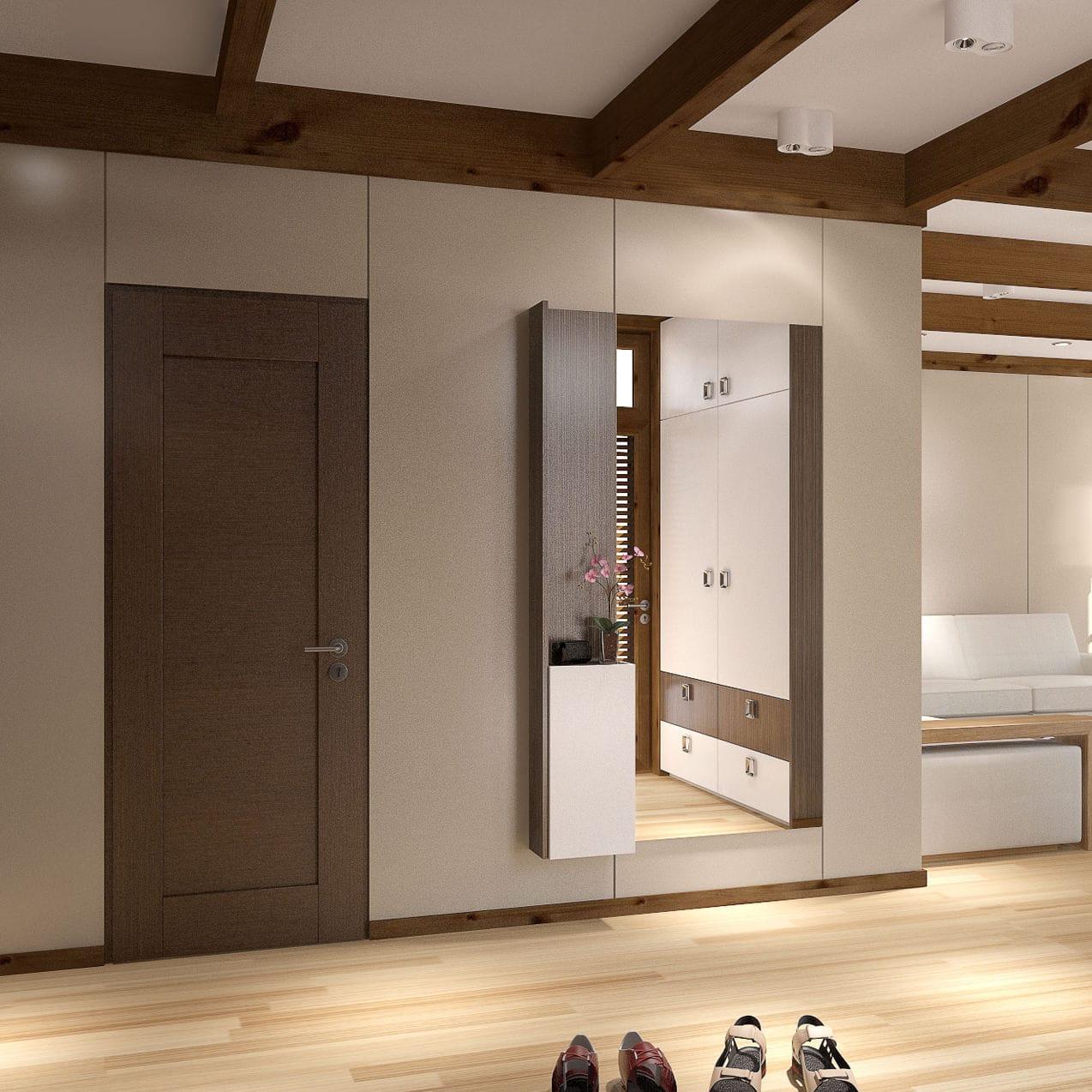 Mueble De Entrada Moderno Mural De Madera Con Espejo  # Muebles Murales