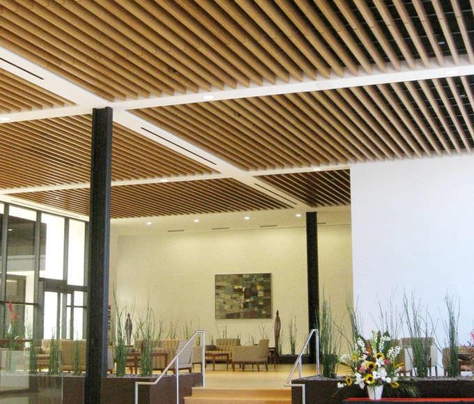 Falso techo de madera de aluminio de material compuesto en