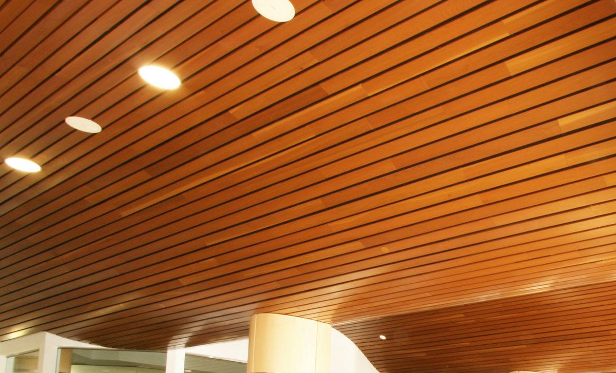 falso techo de madera en lminas linear