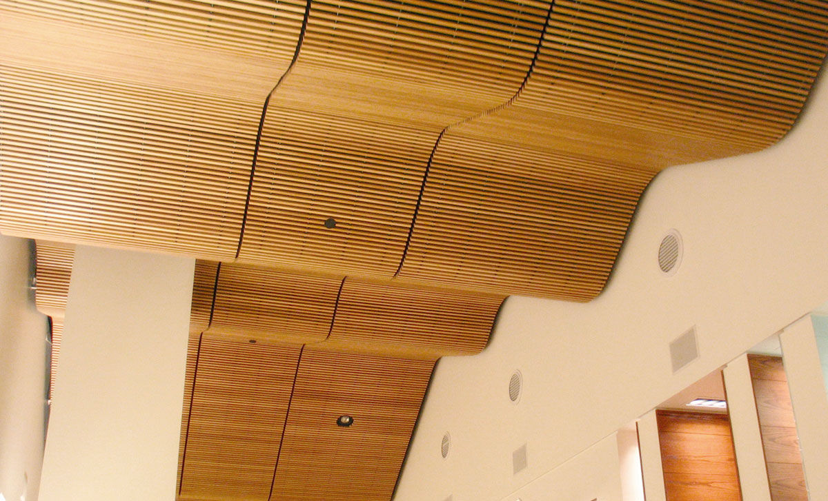 Falso techo de madera tipo panel Rulon company