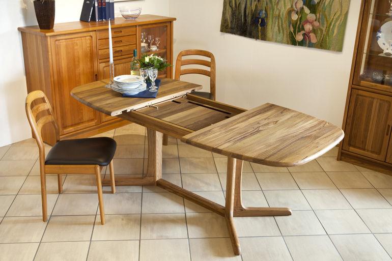 Mesa de comedor moderna / de teca / ovalada / extensible - 9224C/1 ...
