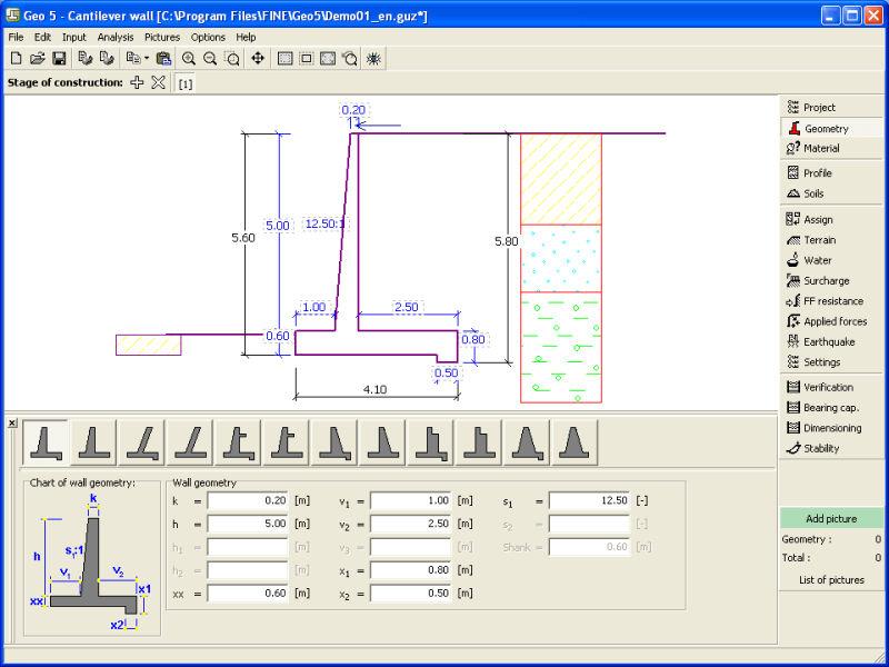 programa de clculo de muros de contencin para estructura de hormign geo fine