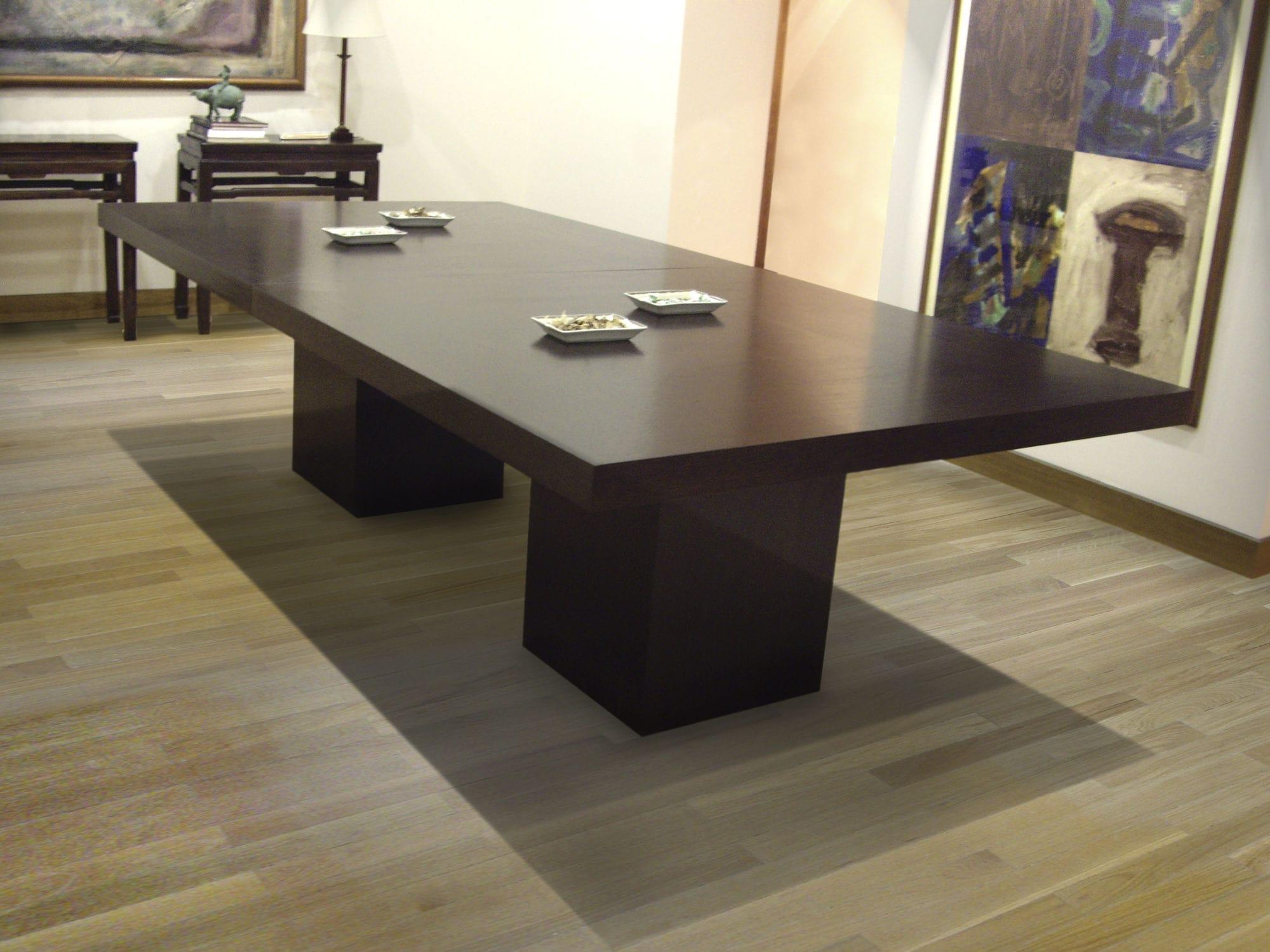 Mesa de reuniones moderna / de roble / rectangular / para oficina ...