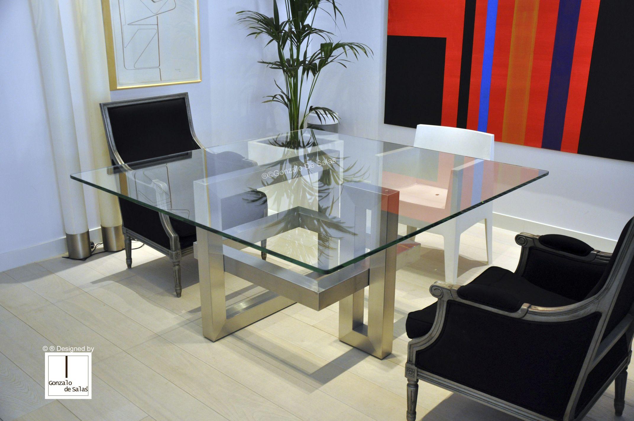 Mesa de edor moderna de vidrio de metal pintado de hierro