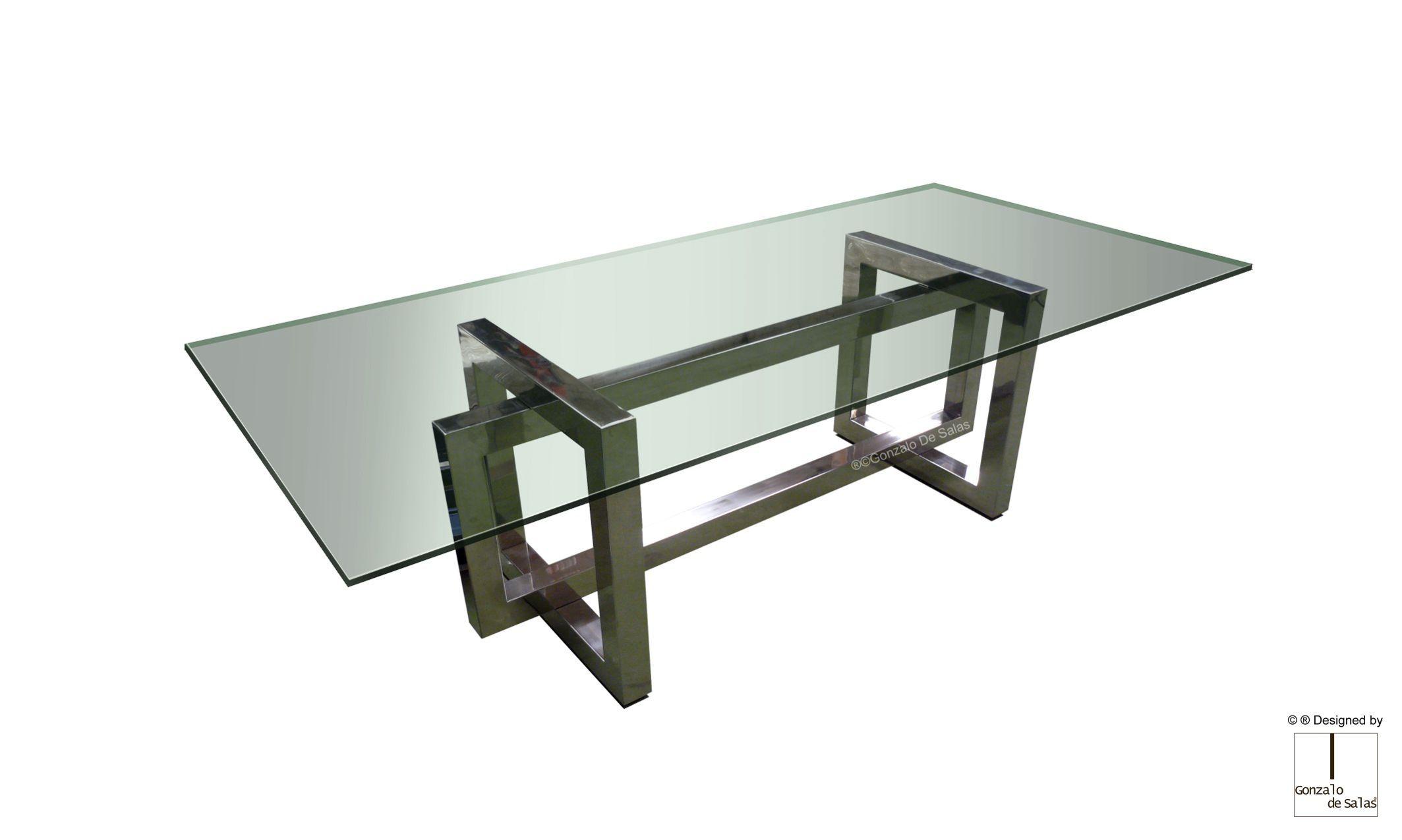 Mesa de comedor moderna / de acero / de cristal / de acero ...