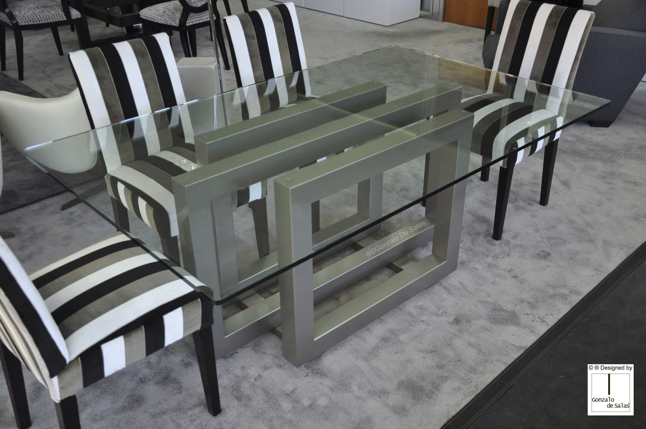 Mesa de comedor moderna / de cristal / de metal pintado / de hierro ...