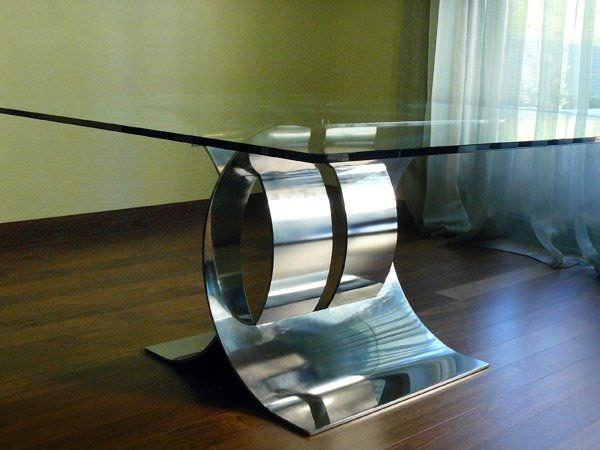 Mesa de comedor / de diseño original / de vidrio / de acero ...
