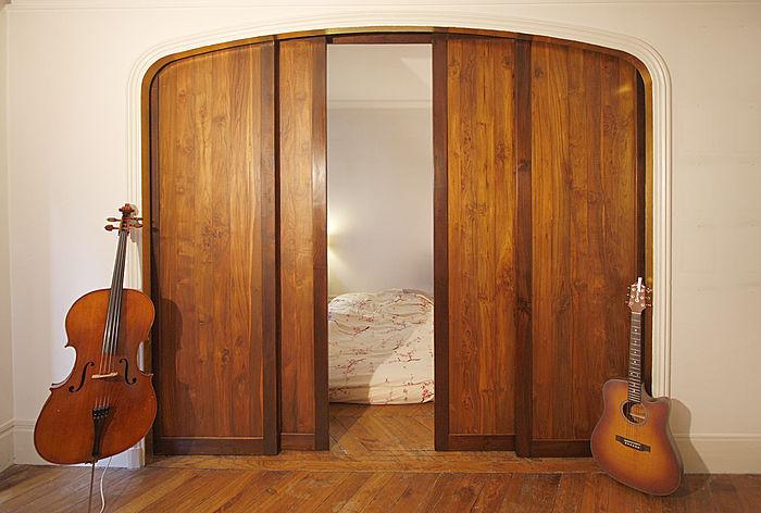 puerta de interior corredera de madera doble frm con sm