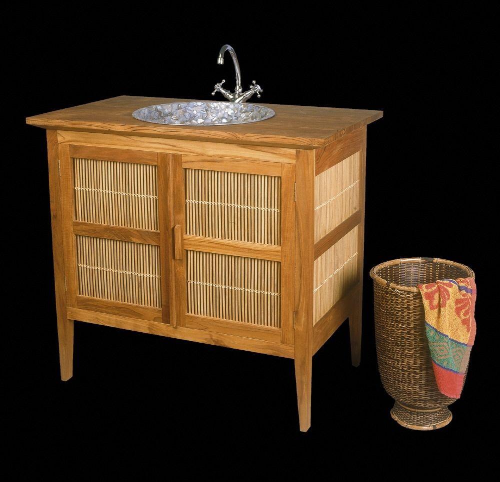 Mueble De Lavabo De Pie De Teca De Bamb Moderno Far Rb  # Muebles Debambu