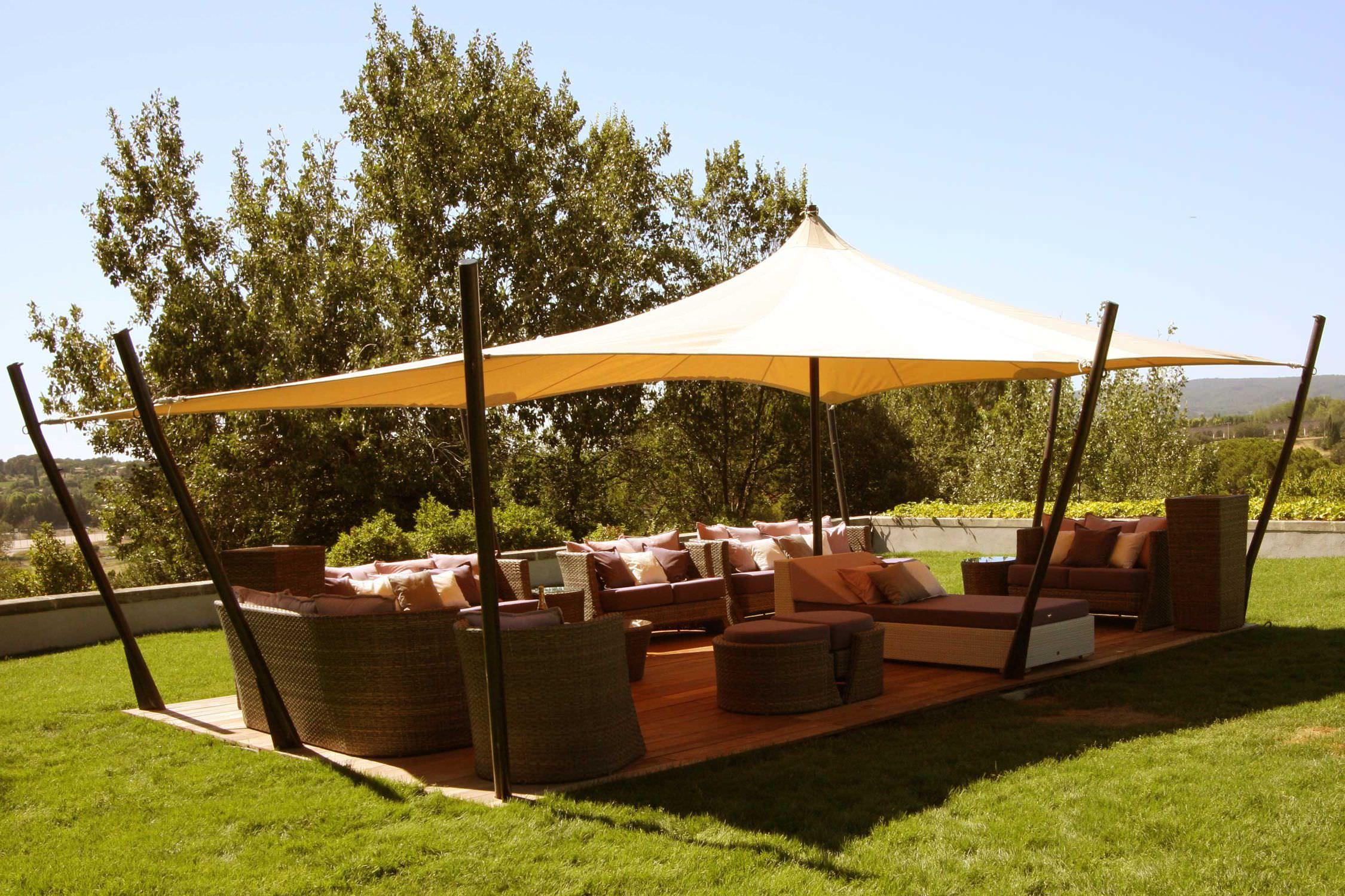 cenador de techo de lona tente touareg jardin aixois atelier aude cayatte - Cenadores De Jardin