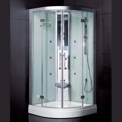 cabina de ducha de vapor de vidrio circular con puerta corredera ariel dzf interstate design industries