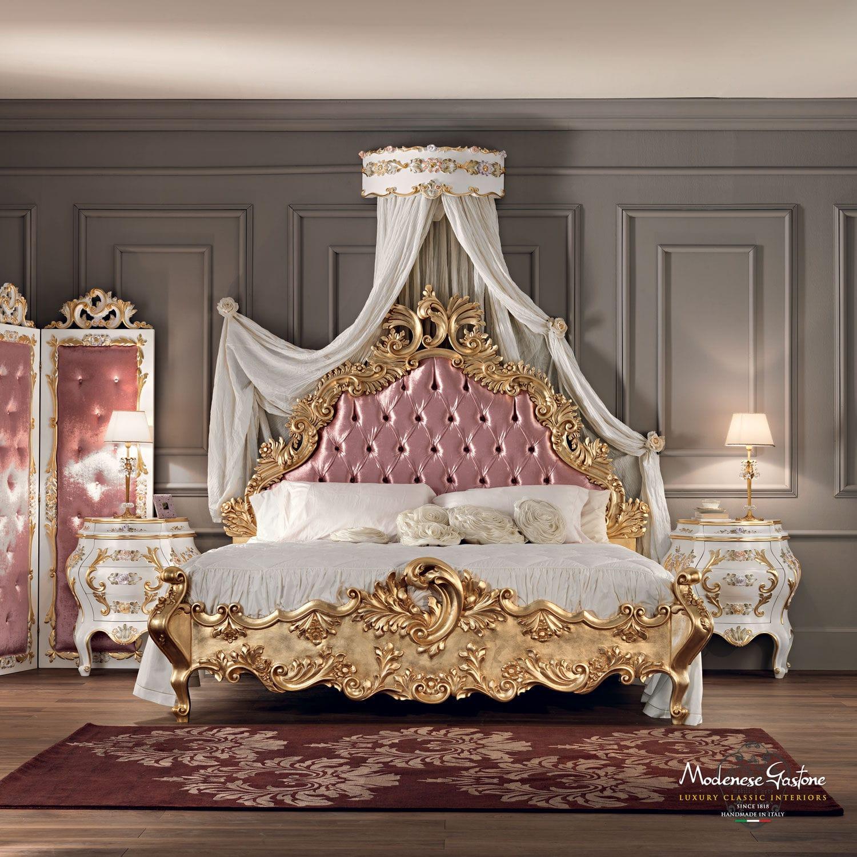 cama estndar doble de estilo de madera maciza villa venezia