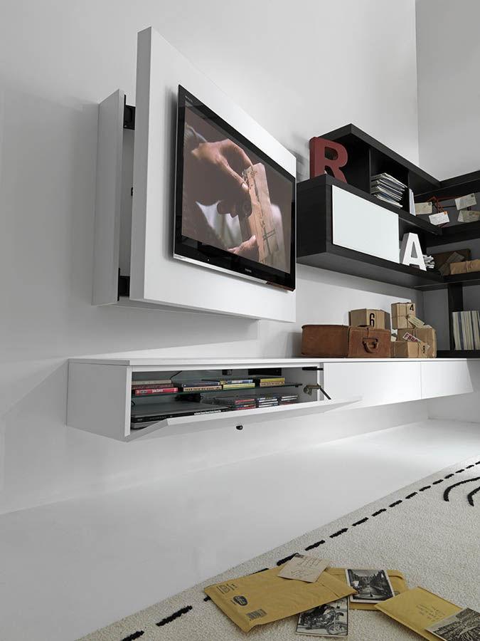 soporte para tv de pared moderno giratorio de madera lacada free fimar srl