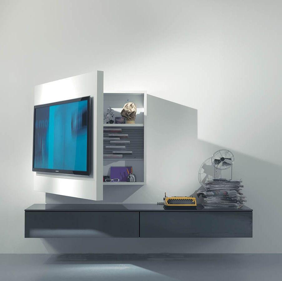 soporte para tv de pared moderno giratorio de madera lacada rack fimar srl