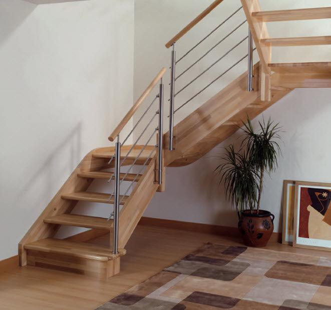 escalera en u con peldaos de madera estructura de madera sin contrahuellas garnacha - Escaleras Madera