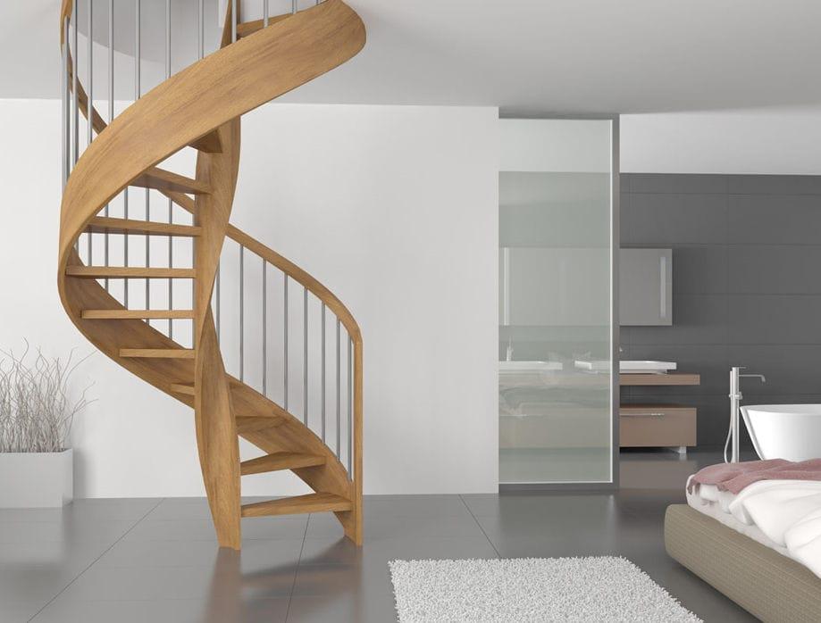 escalera de caracol con peldaos de madera estructura de madera sin merlot