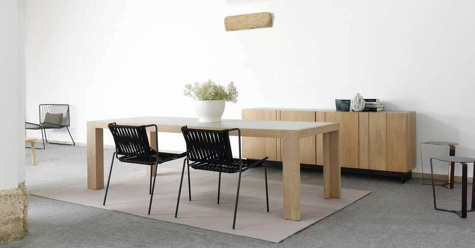 Mesa de comedor moderna / de roble / de madera maciza / rectangular ...
