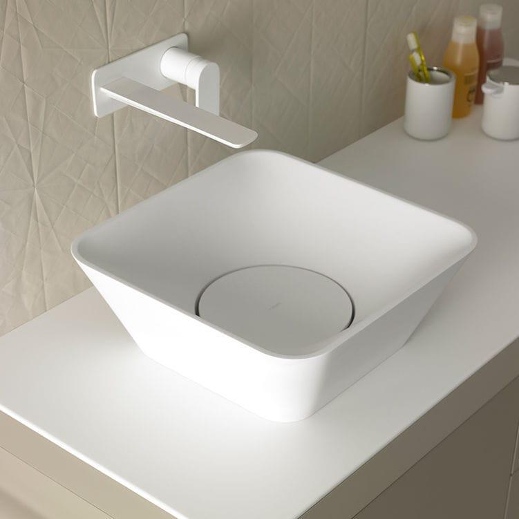 lavabo sobre encimera cuadrado de mrmol moderno fluent