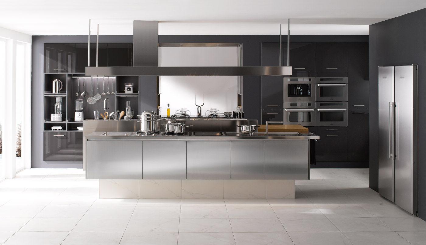 Cocina moderna / de acero inoxidable / con isla - INSPIRATION ...