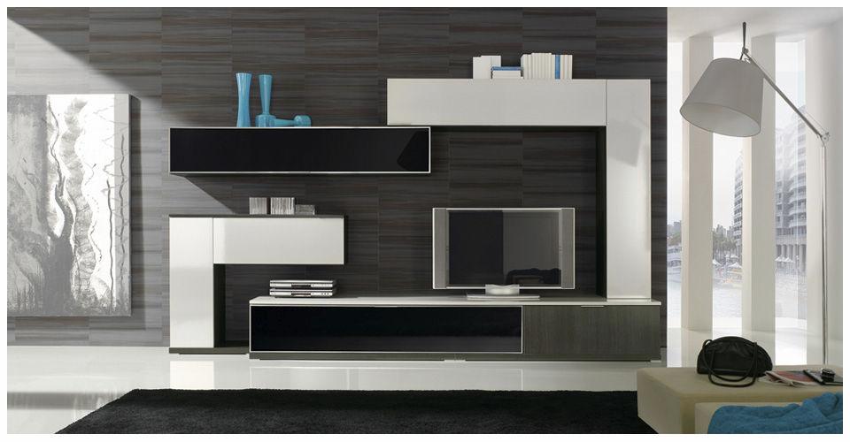Mueble TV moderno de madera lacada MILENIUM PLUS 4714 Baixmoduls