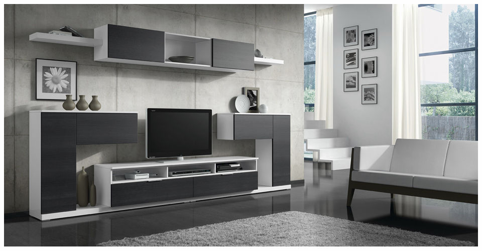 mueble tv moderno de madera lacada eli