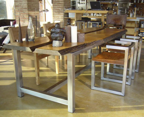 Mesa de diseño original / de madera maciza / de acero inoxidable ...