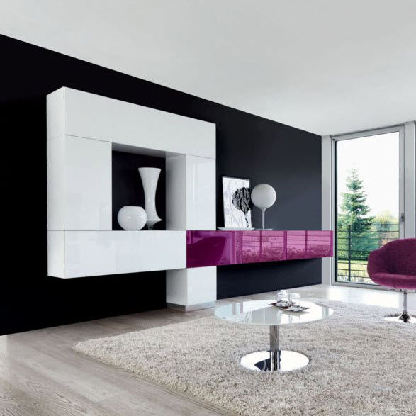 Mueble De Salón Moderno De Vidrio De Aluminio Tetris 017
