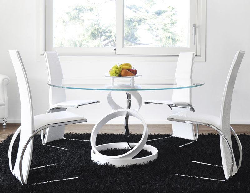 Mesa de comedor de diseño original / de vidrio templado / de acero ...
