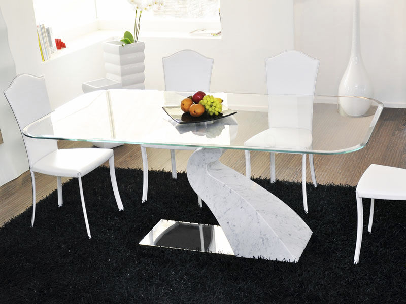 Mesa de comedor de diseño original / de mármol / de vidrio templado ...