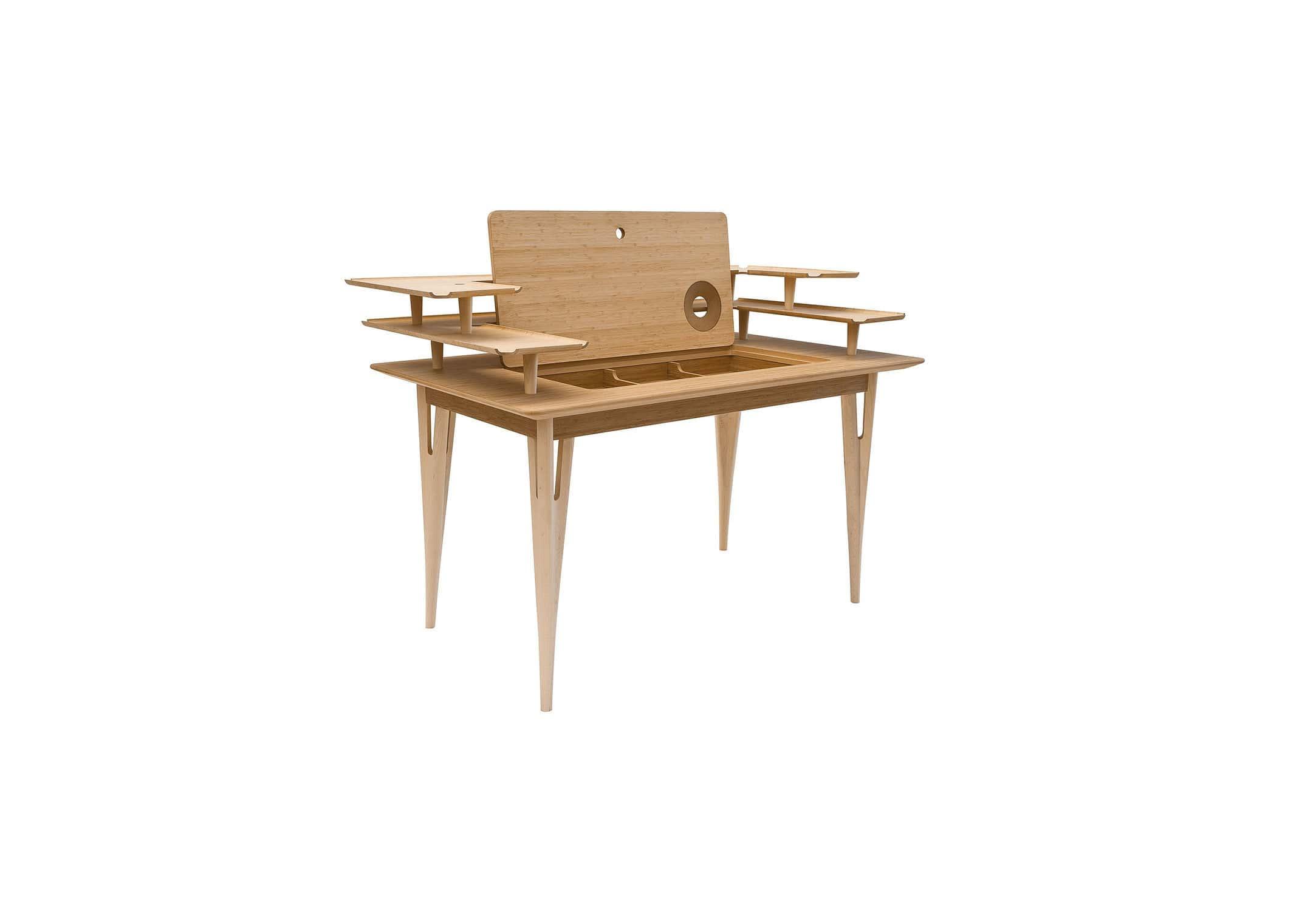 Escritorio de arce / de bambú / moderno / con espacio de ...