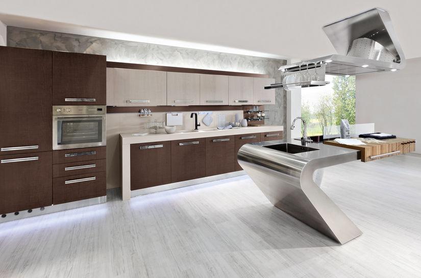 Cocina moderna / de acero inoxidable / de madera / con isla - HOUSE ...
