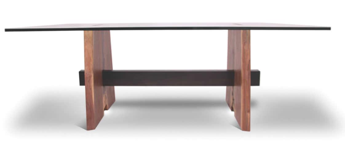 mesa moderna de madera rectangular de material de recuperacin walnut base rotsen furniture