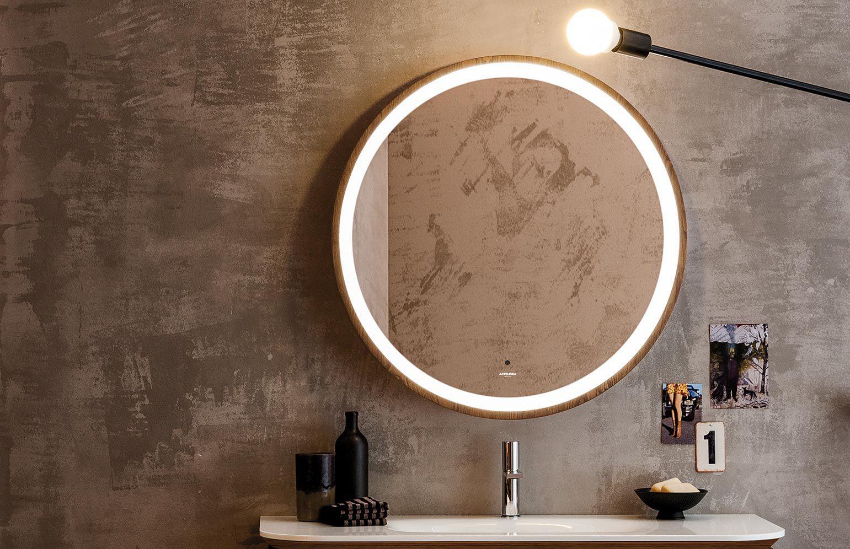 Espejo Para Bano De Pared Con Luz Moderno Redondo Incanto - Espejos-redondos-para-baos