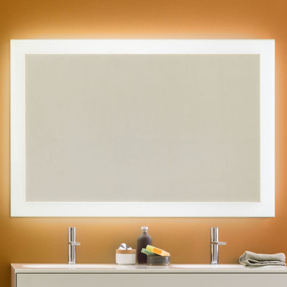 espejo de pared moderno rectangular con luz led luminee