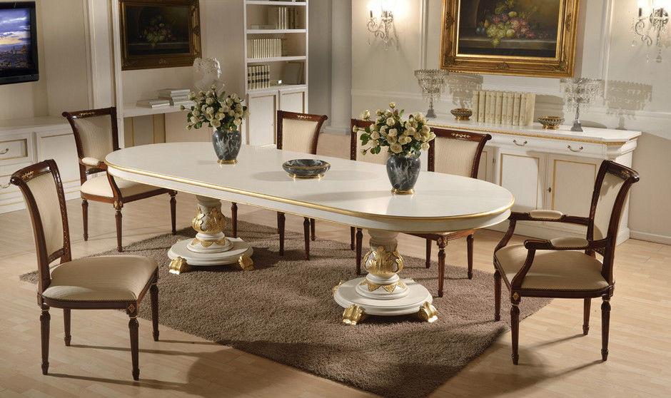 Mesa de comedor de estilo / de madera / ovalada - LUXURY - GUERRA VANNI