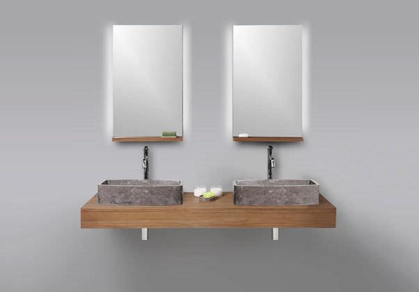 encimera de lavabo doble de madera borneo by marina pandunata dharma bati bali
