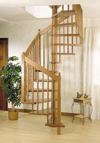 Escalera de caracol cuadrada / estructura de madera / con peldaños ...